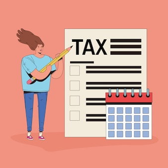 Jovem mulher com caráter de imposto e calendário