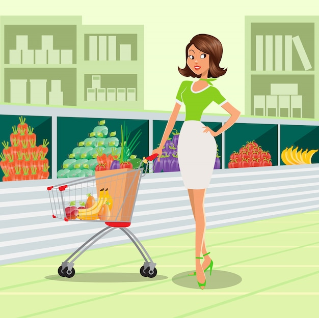 Jovem mulher com carrinho de compras cheio de frutas e legumes no supermercado.