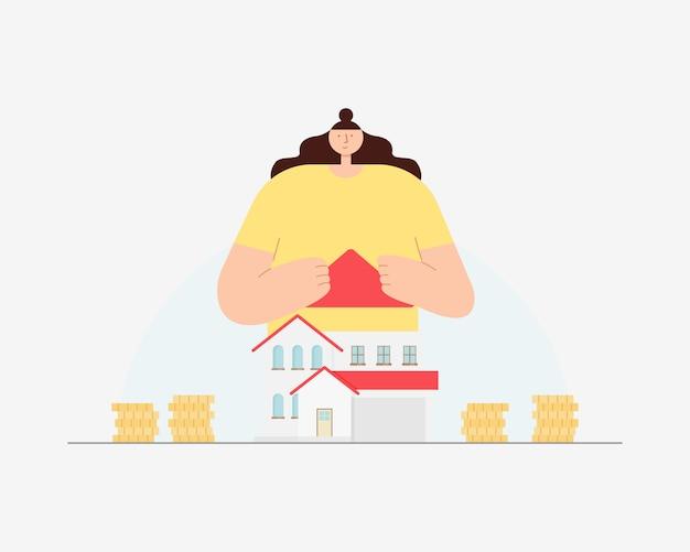 Jovem mulher com casa e moedas. novo conceito de casa. economizando dinheiro para casa e imóveis. ilustração.