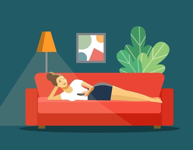 Jovem mulher com controle remoto de tv deitado no sofá isolado. ilustração vetorial