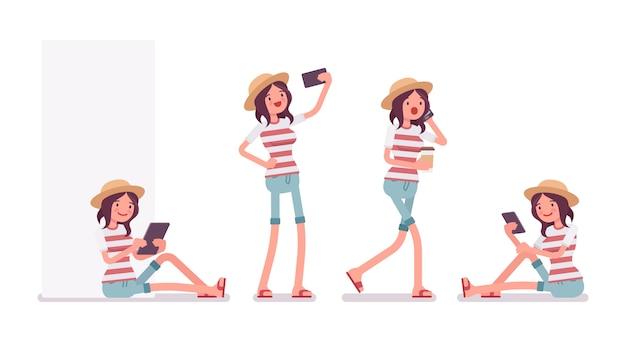 Jovem mulher com diferentes aparelhos