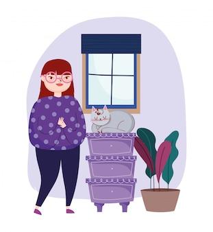 Jovem mulher com gato em gavetas de móveis em vaso planta janela quarto ilustração