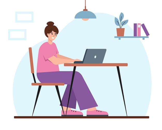 Jovem mulher com laptop trabalhando em casa, estudante ou freelancer. garota feliz sentada na mesa.