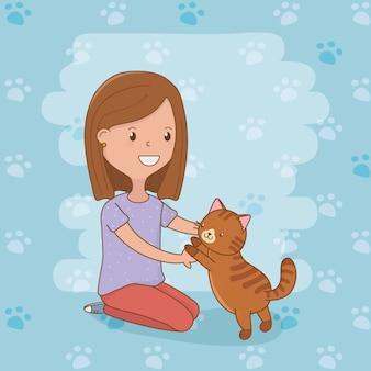 Jovem mulher com mascote de gato bonito