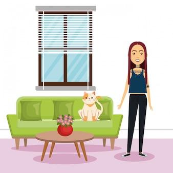 Jovem mulher com mascote em casa