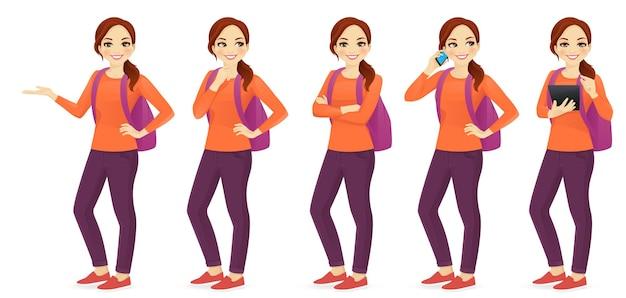 Jovem mulher com mochila com diferentes gestos isolados