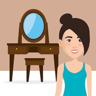 Jovem mulher com penteadeira cena de personagem