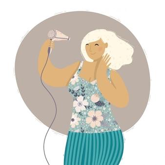 Jovem mulher com penteado bonito, secando o cabelo com o secador de cabelo.