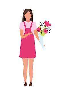 Jovem mulher com personagem de vetor de cor semi plana de buquê de flores. pessoa de corpo inteiro em branco. florista freelance isolada ilustração estilo cartoon moderno para design gráfico e animação