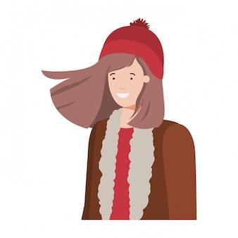 Jovem mulher com roupas de inverno avatar personagem