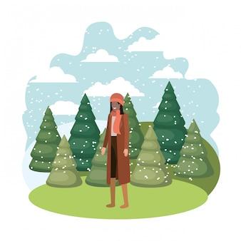 Jovem mulher com roupas de inverno