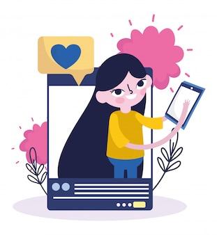 Jovem mulher com smartphone conversa bolha amor mídias sociais
