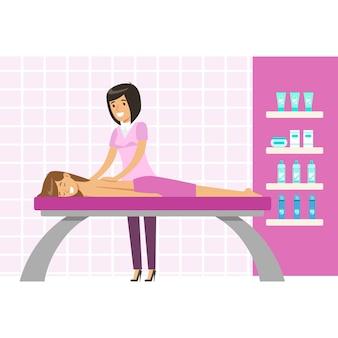 Jovem mulher com uma massagem em um estúdio de bem-estar. personagem de desenho animado colorido