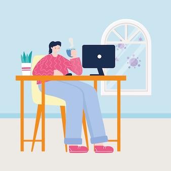 Jovem mulher com uma xícara de café, trabalhando com o laptop na ilustração de mesa em casa
