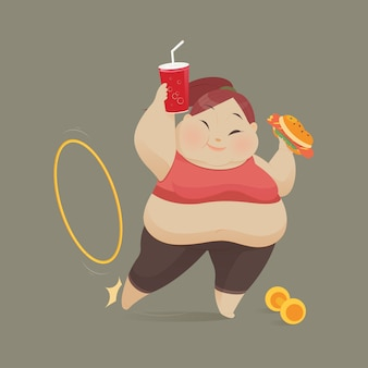 Jovem mulher comendo um pedaço de fast food, as mulheres se recusam a exercer, ilustração vetorial