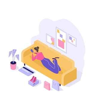Jovem mulher comprando coisas on-line 3d isométrica ilustração em branco