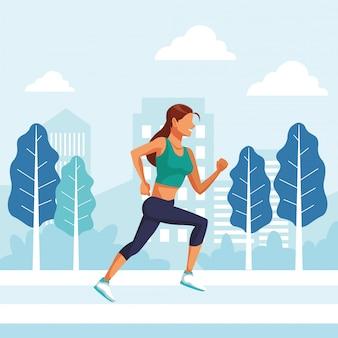 Jovem mulher correndo atleta no personagem de avatar do parque