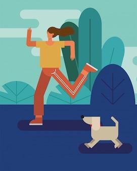 Jovem mulher correndo com cachorro praticando caráter de atividade