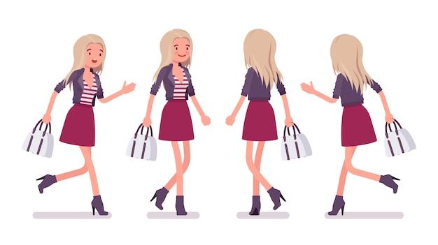 Jovem mulher correndo e andando. garota milenar, senhora loira atraente com saco na jaqueta da moda, acima da saia do joelho, botas de salto alto, moda urbana da juventude. ilustração dos desenhos animados do estilo