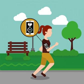 Jovem mulher correndo esporte smartphone coração bate no parque