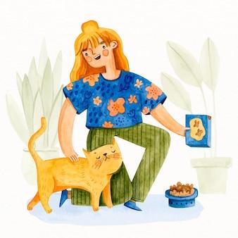 Jovem mulher cuidando do gato adorável