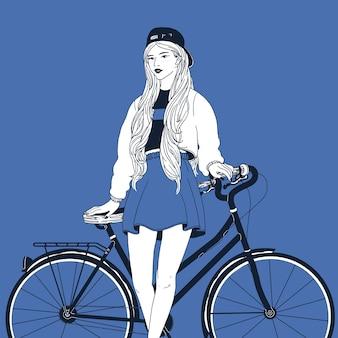 Jovem mulher de cabelos compridos, vestida com roupas da moda, inclinando-se de costas na bicicleta da cidade.