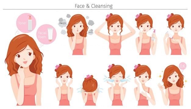 Jovem mulher de limpeza e cuidados com o rosto com várias ações definidas
