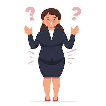 Jovem mulher de negócios ficou chocado de repente se sentir gordo