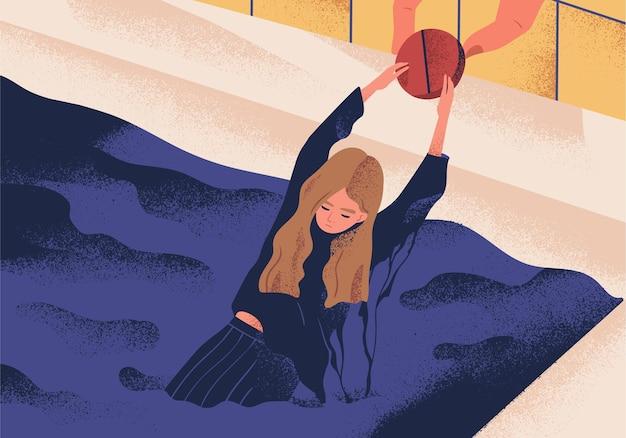 Jovem mulher deprimida se afogando na piscina e segurando uma pílula grande