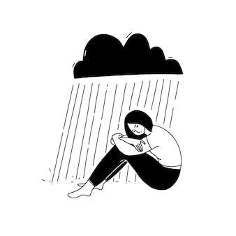 Jovem mulher deprimida sentada sob uma nuvem negra de chuva. mulher infeliz sozinha conceito de depressão