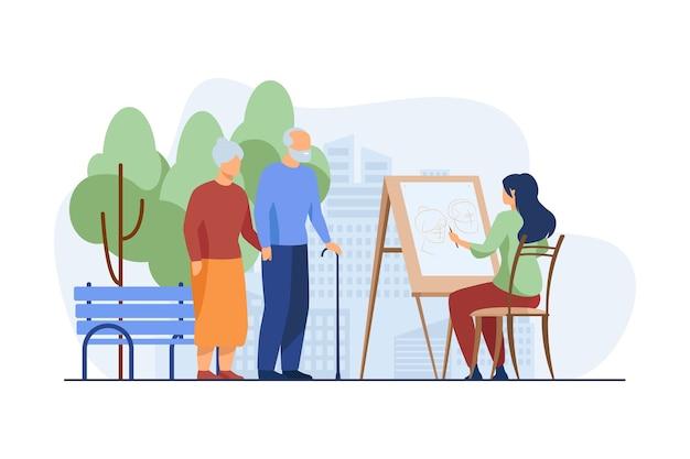 Jovem mulher desenhando o retrato de um casal de idosos no cavalete.