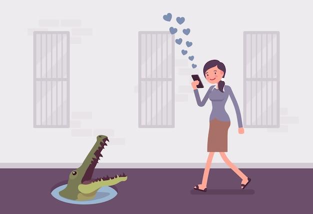 Jovem mulher despreocupada andando com telefone, crocodilo no poço