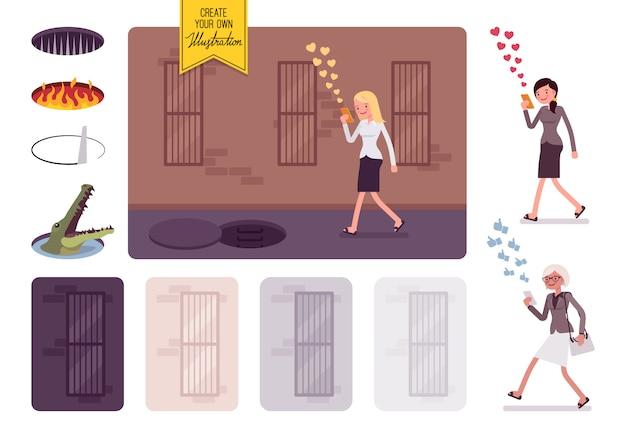 Jovem mulher despreocupada andando com telefone, perigo invisível na frente