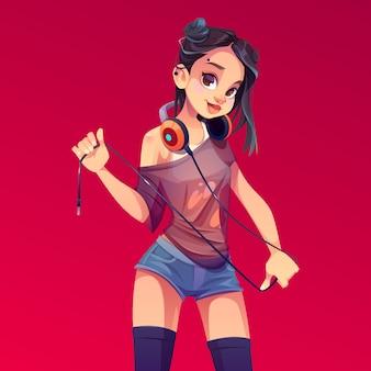 Jovem mulher dj com fones de ouvido