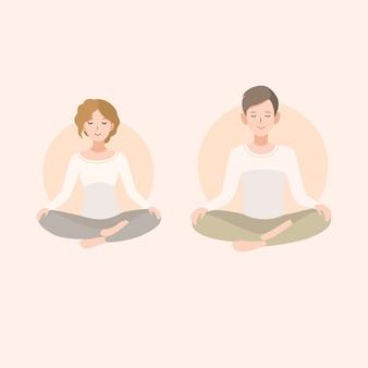 Jovem mulher e homem casal meditando na posição de lótus. relaxamento, ilustração de pessoas isoladas.