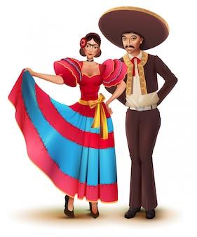 Jovem mulher e homem com roupas tradicionais nacionais mexicanas