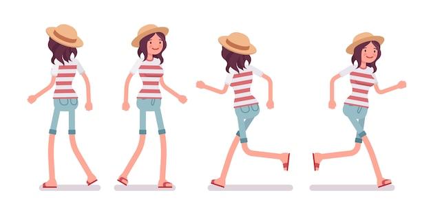 Jovem mulher em pé e correndo pose
