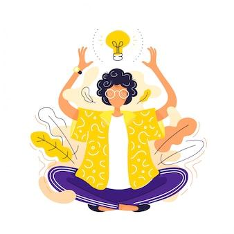 Jovem mulher em pose de ioga de lótus meditando
