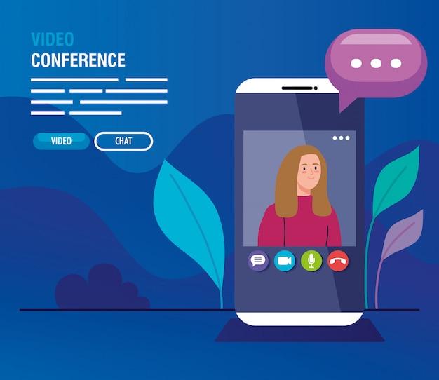 Jovem mulher em vídeo-conferência em smartphone