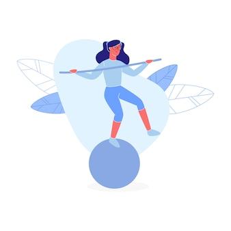Jovem, mulher, equilíbrio, ficar, uma perna, ligado, fitball
