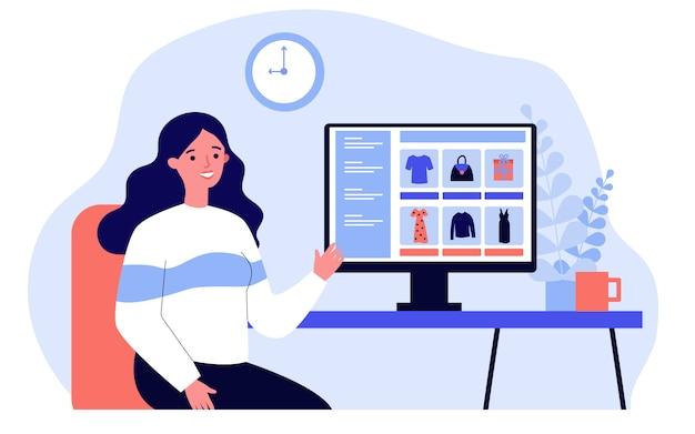 Jovem mulher escolhendo roupas na loja online