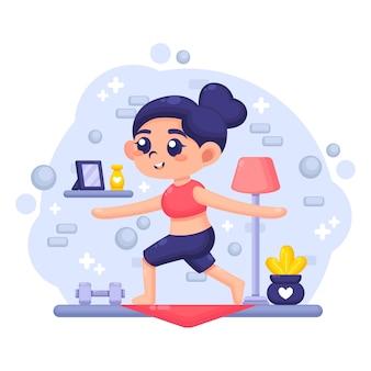 Jovem mulher exercitando na sala de estar