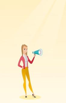 Jovem mulher falando em um megafone.