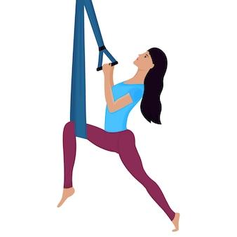 Jovem mulher fazendo exercícios com ilustração vetorial de rede. ioga da antigravidade.