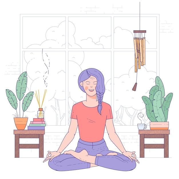 Jovem mulher fazendo ioga em casa, sentada na postura de lótus com os olhos fechados.