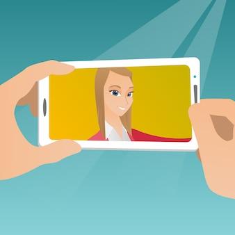 Jovem mulher fazendo selfie ilustração vetorial.