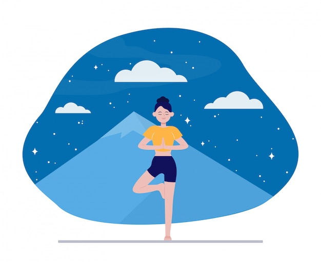 Jovem mulher fazendo yoga ao ar livre