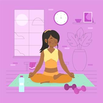 Jovem mulher fazendo yoga em casa