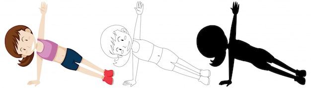 Jovem mulher fazendo yoga na cor e contorno e silhueta