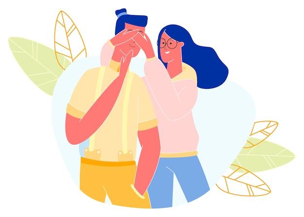 Jovem mulher fechando os olhos do namorado tempo livre